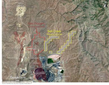 Figure 1: Plan view map showing location of the Bell Creek property (yellow) sitting adjacent to the Nevada Gold Mines owned Ren and Banshee deposits (red)