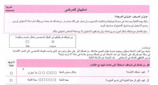 anaQuestra Auszug arabischer Fragebogen