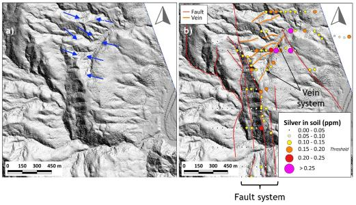 """Figure 1. a) LiDAR """"Bare Earth"""" image; b) the same LiDAR image with the interpretation of the fault network and associated possible epithermal gold-silver vein system with silver values in soil samples superimposed"""