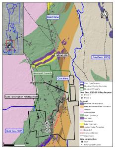 Figure 1. Plan View of Gold Terra's Phase 1 Drilling Program on Newmont Option Property