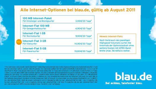 Neue Tarif-Option bei blau.de: Internet-Flat mit Highspeed-Surfmöglichkeit bis 3 Gigabyte für nur 14,90 Euro