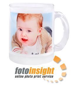 Taza de vidrio con foto