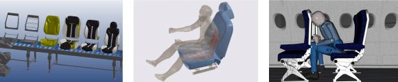 Seat manufacturing (left), thermal comfort on a heated seat (middle), and HIC testing (right), performed virtually with ESI Virtual Seat Solution