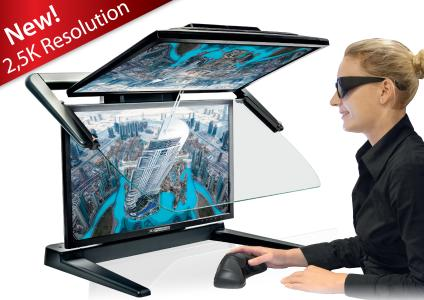 "3D PluraView 2.5K – the new 27"" passive 3D stereo display has 77% more workspace, and thanks to the latest LED technology around 55% more brightness at 350 cd/m² than its full HD predecessor, all as an entry-level model with 3.7MP resolution and at the same price"