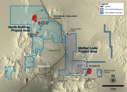 Abbildung 1. Karte mit Projektstandort und Planungsentwurf der Infrastruktur im Projektgebiet Mother Lode