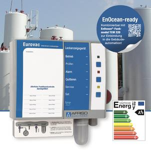 The new AFRISO Eurovac HV leak detector is approved for suitable double-walled steel tank tanks and for all tanks with a leak protection lining as per EN 13160-7 and can be integrated into Smart Home systems by means of an optional EnOcean wireless module (Photograph: AFRISO)