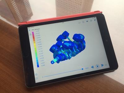 Résultats obtenus avec ESI Virtual Performance Solution, visualisés avec ESI-Player, sur une tablette