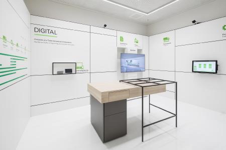 Schüco Showroom Frankfurt am Main: Beratung und digitale Lösungen für alle Phasen eines Bauprojektes, Bildnachweis: Schüco International KG, Fotograf: Lukas Palik