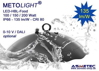 METOLIGHT LED-HBL-UFO-Food, IP66, wasserfest, ohne Glas, ohne freiliegende Schrauben, ohne hervorstehendes Netzteil