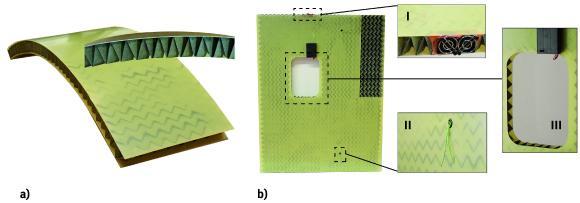 Funktionsmuster: a) gekrümmte Sandwichschale mit Faltkern b) Sandwichplatte mit Faltkern, Belüftung (I), Kabelkanal (II) und Fensterausschnitt (III)