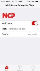 NCP iOS Client de Verbindung