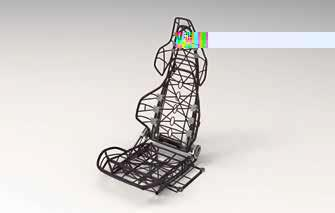 Ultraleichte Sitzstruktur, hergestellt mit der Radikalinnovation xFK in 3D / Bild: Automotive Management Consulting