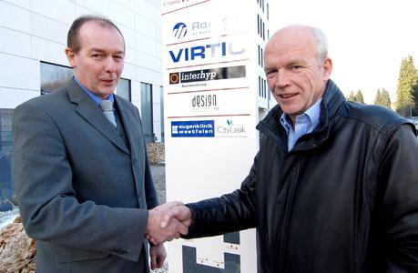 Bernd Steffan (links), Geschäftsführer der Sicom Sicherheits- und Kommunikationstechnik GmbH, und Bernd Wolff, Geschäftsführer der virtic GmbH