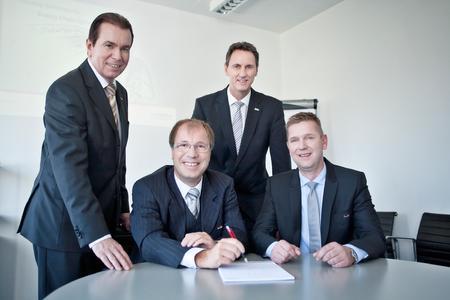 Der inconso-Vorstand anlässlich des 10-jährigen Bestehens: Bertram Salzinger, Dr. Gerd Wintermeyer, Wilfried Pfuhl, Thomas Gries (v.l.)