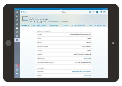 SAP Cloud for Service Ticket iPad