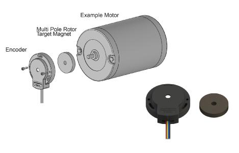 Typical L and H series kit encoder configuration showing exploded view of disc housing and rotor target mounting