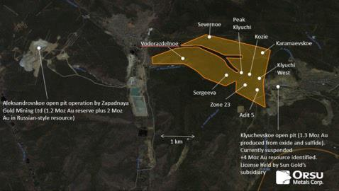 Figure 1. An outline of the 7.6 sq km Sergeevskoe license area with location of principal gold prospects and two adjacent open pits