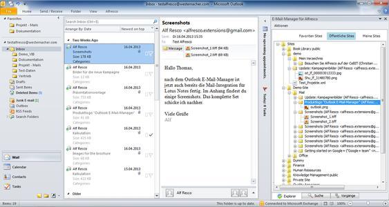 Benutzeroberfläche Westernacher Outlook E-Mail-Manager für Alfresco