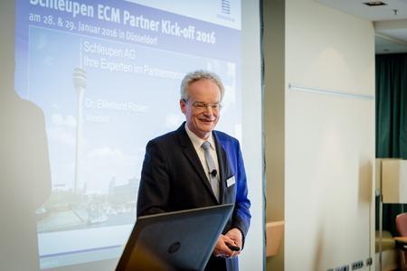 Dr. Ekkehard Rosien, Vorstand der Schleupen AG, während des ECM Partner Kick-offs 2016 | © Kochinke | Visuelle Gestaltung - Schleupen AG