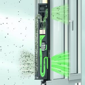 Die notwendige Sauerstoffzufuhr wird beim Lüftungssystem Schüco VentoLife über eine integrierte sensorbetriebene Außenluft-Umluftklappe gesteuert, Bild: Schüco International KG
