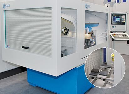 Der CNC-Schleifautomat des Typs GBA202 der SMS Maschinenbau GmbH ist speziell für die Massenproduktion von Standard-Gewindebohrern konzipiert