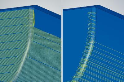 3D-optimiertes Schruppen: neue Zustelloptimierung für eine schnelle Bearbeitung beim Restmaterialschruppen (links: Werkzeugbahnen ohne Zustelloptimierung, rechts: mit Zustelloptimierung). Foto: OPEN MIND