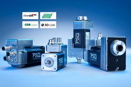 Die Direktantriebe PSD sind mit CANopen, IO-Link, PROFINET und EtherCAT verfügbar