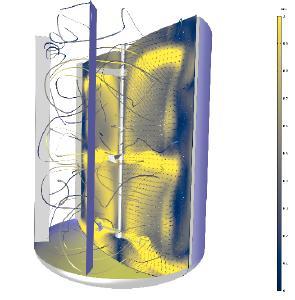Visualisierung des Strömungsfeldes eines Mischers, gerendert mit der Farbtabelle Cividis. Mit freundlicher Genehmigung vom Pacific Northwest National Laboratory (PNNL).