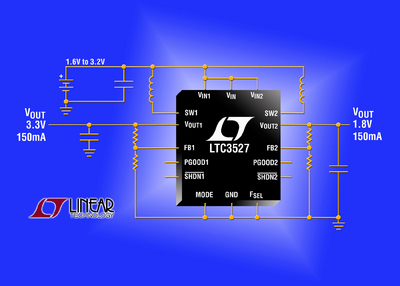 Dual 800mA & 400mA (ISW), 2.2MHz Synchronous Boost Regulator with Output Disconnect in a 3mm x 3mm QFN