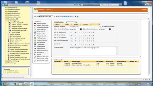 Bewertung einer Dienstleistung im Service-Modul von cierp3