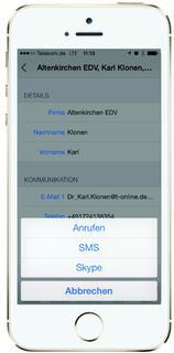 cobra Mobile CRM iPhone5 Kontakart Auswahl