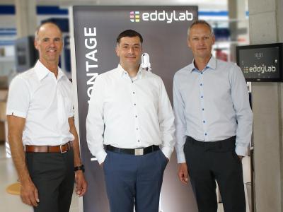 eddylab stellt sich neu auf: Payam Andreas Saghafi (Mitte) und Christian Schrick (rechts) bilden gemeinsam mit eddylab Gründer Michael Reiter (links) die neue Geschäftsfüh-rung der eddylab GmbH.