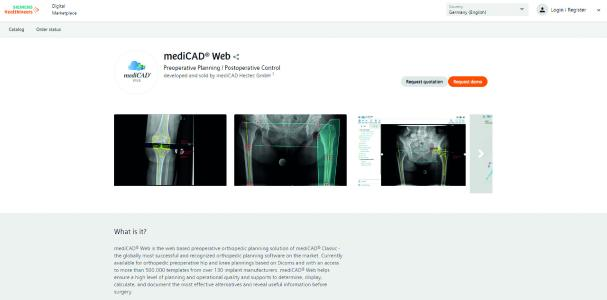 mediCAD Web - available as integrated partner application in