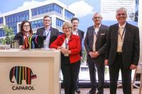 Informierten am Messestand über nachhaltige Produkt- und Gestaltungsinnovationen (von links): Margit Vollmert, Carsten Tümpner, Bettina Klump-Bickert, Dr. Christian Walter,