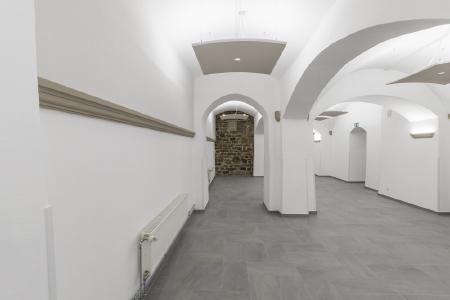 Die konsolenförmigen Capapor Sonderprofile gliedern die geraden Sanierputz- und Akustikwandflächen in der sanierten Mensa im Schloss Hagerhof, Fotos: Willi Fuchs Fotografie