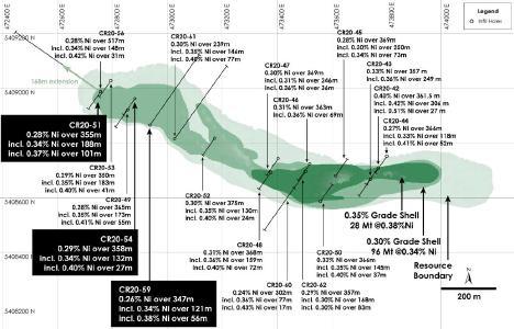Abbildung 1 - Draufsicht auf die Nickelressource der Hauptzone, Nickel-Kobaltsulfid-Projekt Crawford, Ontario