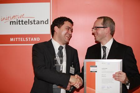 v.l.n.r. Norbert Pfleger, SemVox GmbH; Rainer Kölmel, Geschäftsführer Huber Verlag für Neue Medien GmbH und Gründer der Initiative Mittelstand