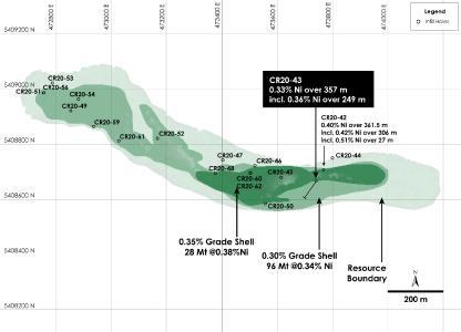 Abbildung 1 - Draufsicht auf Main Zone Nickelressource, Nickel Kobaltsulfid Projekt Crawford, Ontario