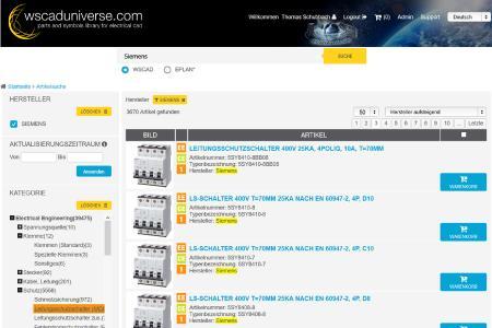 Aktuelle Symbole und Artikeldaten von Siemens-Komponenten werden ab sofort auf monatlicher Basis in die weltweit größte E-CAD-Datenbibliothek wscaduniverse.com eingestellt und aktualisiert