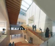 Der zentrale Ort ist die Treppenhalle über alle Geschosse.