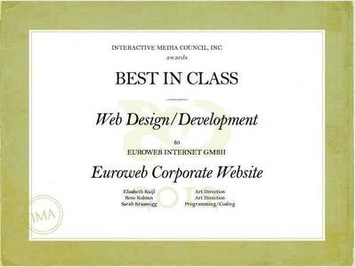 Euroweb gewinnt zweiten IMA-Award: Best in Class auch für Webdesign