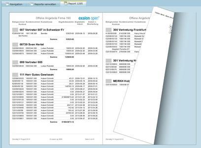 Wie in einem Buch: Per Mausklick auf die Seitenecken lassen sich die Reports von oxaion direkt am PC-Bildschirm umblättern.