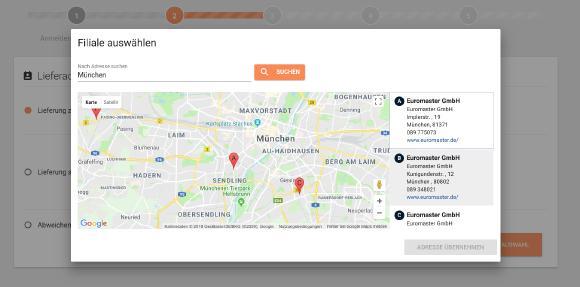 Im ersten Schritt können Kunden die Euromaster-Filiale in ihrer Nähe wählen