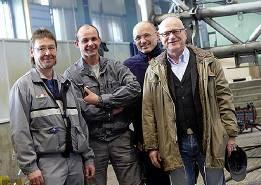 Fig. 4: Responsible for the perfect weld seam – the welding supervision team (steel construction) at the Ehingen plant. From right: Dipl.-Ing. Reinhard Örtl, Otto Schrode, Sascha Wilde and Thomas Weissenberger