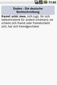 """Der Eintrag """"fremdschämen"""" im Rechtschreibduden für Android"""
