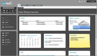 Screenshot der Startseite in dunkel