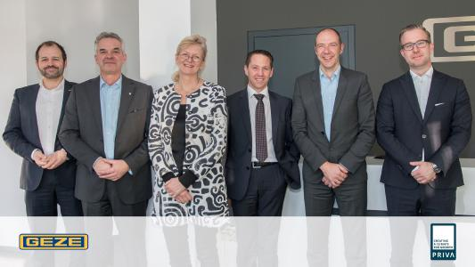 At the GEZE headquarter in Leonberg, Germany, representatives of Priva B.V. and GEZE GmbH signed the letter of intent (Picture: GEZE GmbH)