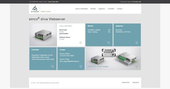 Designed with maximum transparency in mind: the simco® drive web server homepage