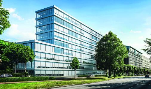 Der Schüco Sonnenschutz CSB fügt sich nahtlos in das äußere Design eines Gebäudes ein