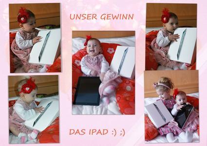"""Dieses wunderbare """"Dankeschön"""" stellte die Sieger-Familie Socoliuc aus Österreich bei Facebook ein, sie hatte mit dem Foto ihrer Tochter Alisa ein iPad gewonnen"""